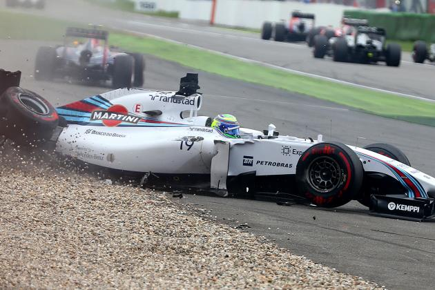Massa Flips on Opening Lap of German GP