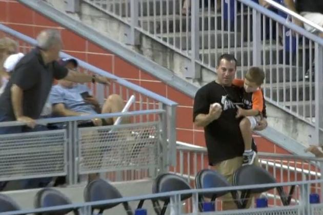 Marlins Fan Snags Foul Ball with 1 Hand While Holding Child with the Other