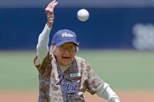 Video: 105-Year-Old Woman Throws out 1st Pitch at Mets-Padres Game