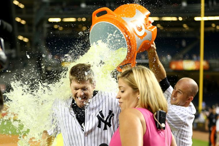 Chase Headley Meets Yankees Teammates in Dugout, Hits Walk-Off Single