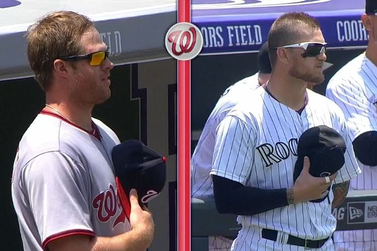 Nationals' Aaron Barrett and Rockies' Brandon Barnes Engage in Pregame Standoff