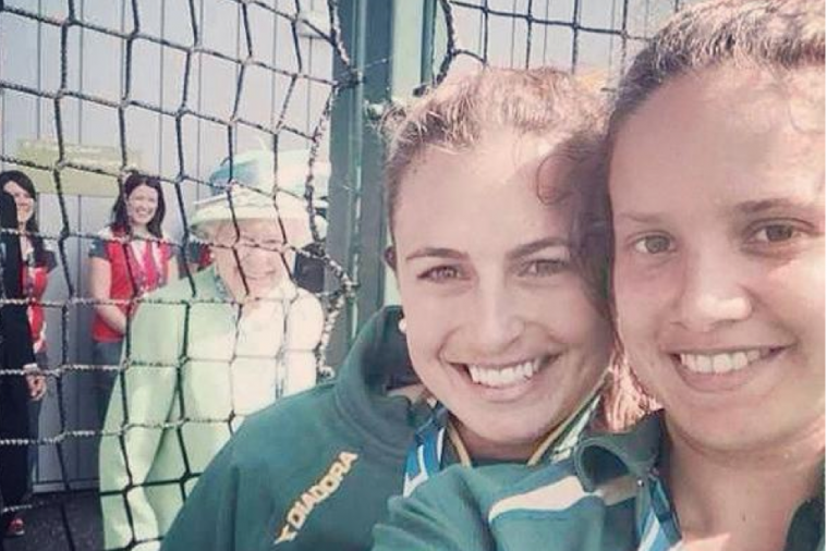 Queen Photobombs Commonwealth Games Selfie by Hockeyroos Star Jayde Taylor