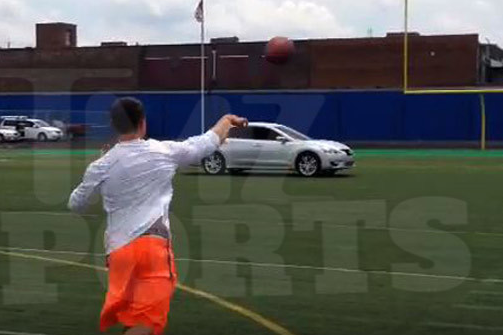 Johnny Manziel Throws Ball Through Moving Car Window for Nissan Commercial