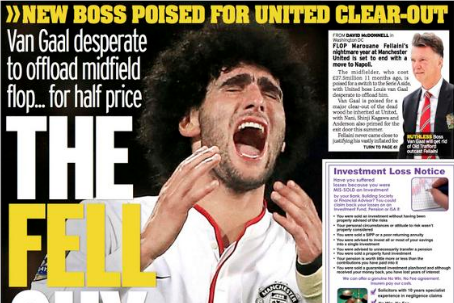 UK Back Pages: Marouane Fellaini's Potential Exit, Redknapp Can't Believe Remy