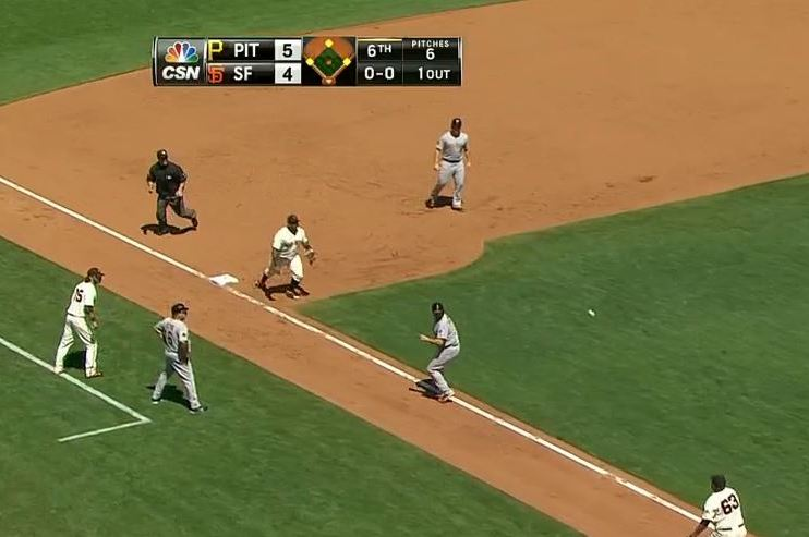 Pirates Run into Double Play on the Bases After Drawing a Walk