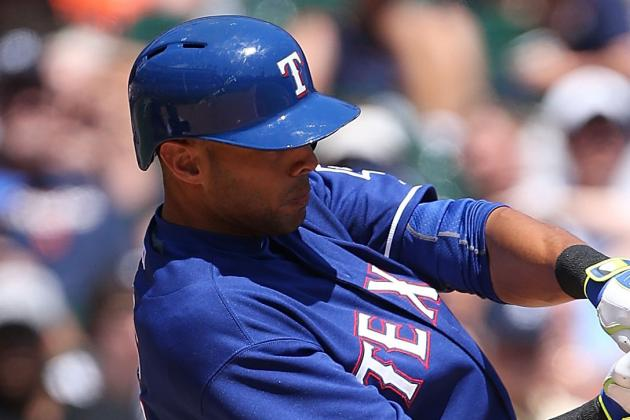 Alex Rios Leaves Game Wednesday After Being Hit by Pitch in Quad