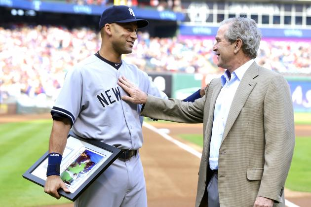 Derek Jeter Surprised by President George W Bush During Rangers Pregame Ceremony