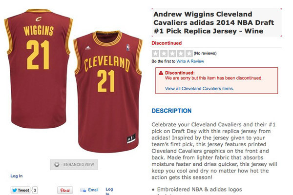 new style d4f67 35be6 NBA Store Discontinues Andrew Wiggins Cavaliers No.21 Jerseys