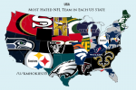 Most Hated NFL Team in Each State