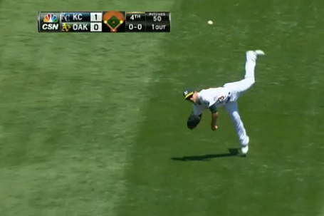 A's Sam Fuld Throws out Runner at Home Plate vs. Royals, Does a Barrel Roll