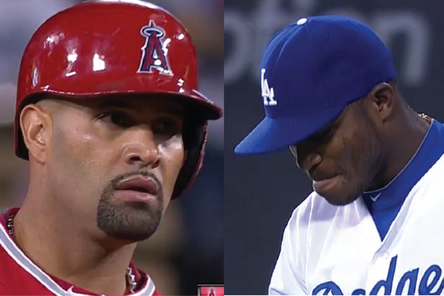 Yasiel Puig and Albert Pujols Clash in Dodgers-Angels Freeway Series