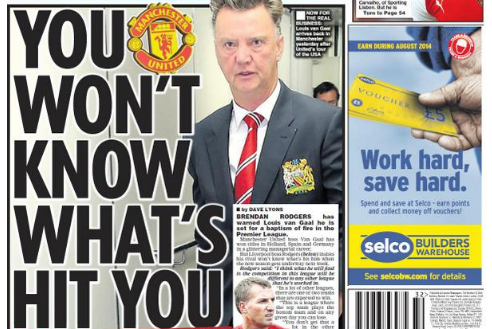 UK Back Pages: Brendan Rodgers' Warning to Rival Louis van Gaal