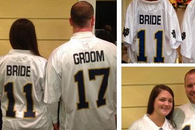Fans Wear 'Bride', 'Groom' ND Wedding Jerseys