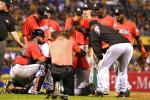 Marlins' Pitcher Jennings Takes Liner to Head
