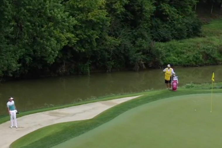 Ian Poulter Drains Shot from Bunker on Hole No. 3 at PGA Championship