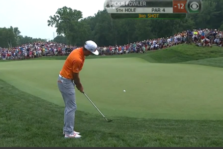 Rickie Fowler Chips in Birdie to Take Lead at PGA Championship