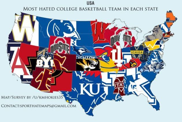 Reddit Survey Shows Which College Basketball Teams Are Most Hated in Each State