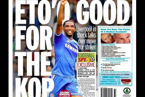 UK Back Pages: Liverpool Linked with Transfer Swoop for Samuel Eto'o