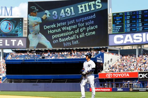 Yankees' Derek Jeter Moves into 6th Place on All-Time Hits List
