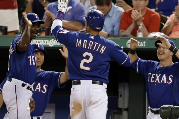 Martin Gets Career-High 4 Hits in Rangers' Victory