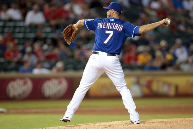 J.P. Arencibia Pitches and Rangers Close in on Unfortunate Record