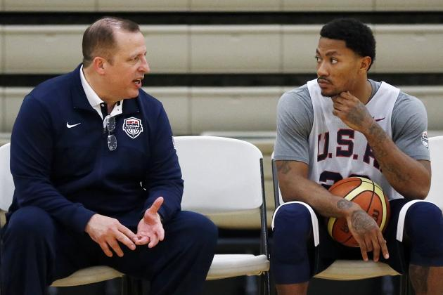All Eyes Shift to Derrick Rose in Team USA's FIBA Warm-Ups