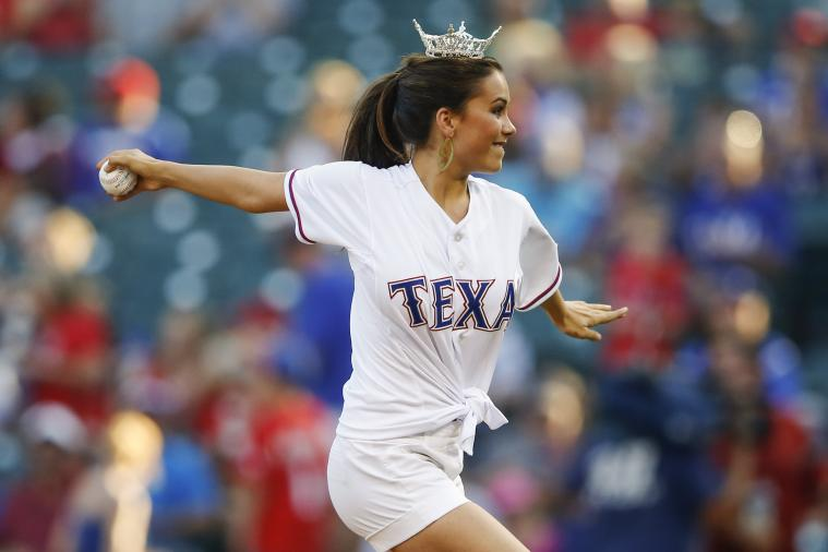 Miss Texas Throws out Terrible First Pitch at Rangers Game