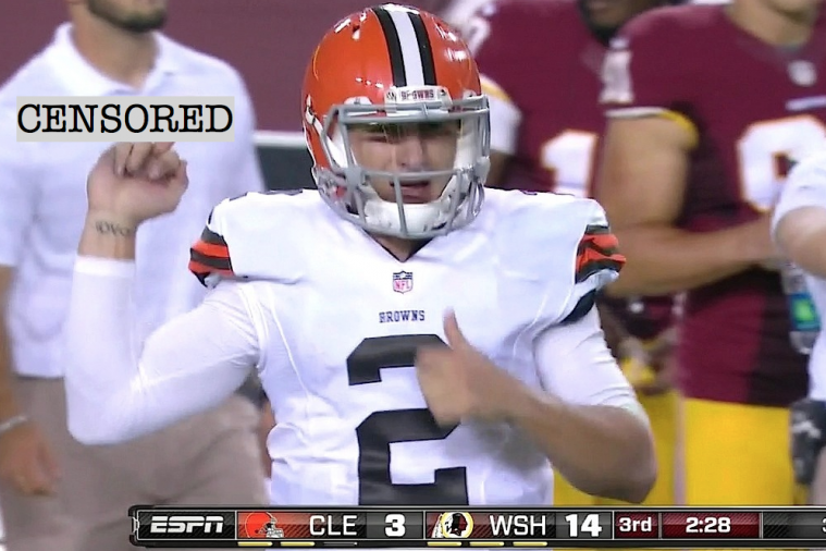 Johnny Manziel Gives the Redskins Bench the Finger