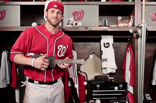 Bryce Harper Dances and Plays a Ukulele in Gatorade's Virtual Locker Tour