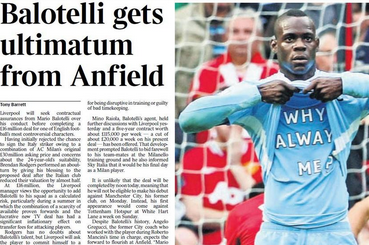 UK Back Pages: Mario Balotelli Will Have to Behave Himself at Liverpool