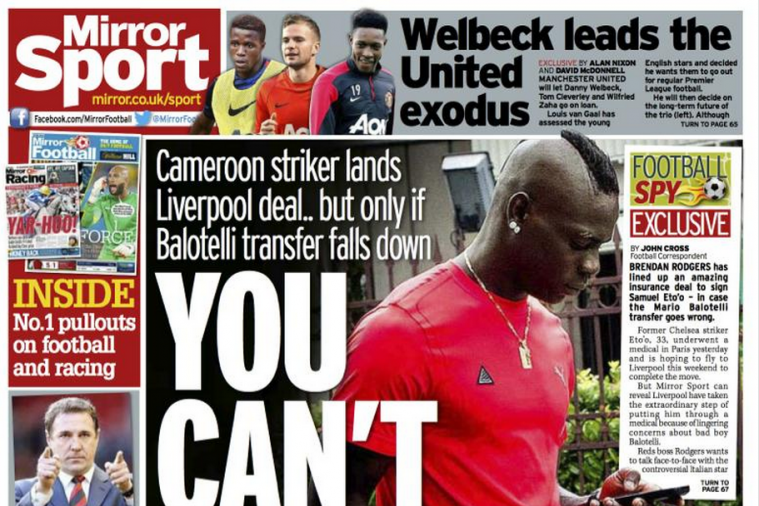UK Back Pages: Balotelli's Liverpool Switch, Malky's Apology, Welbeck and More