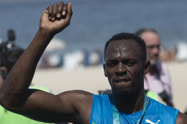 Usain Bolt Sets World Indoor 100-Meter Record in Warsaw National Stadium