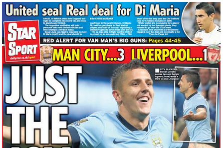 UK Back Pages: City Crush Liverpool, Balotelli Arrives, Di Maria Deal Imminent