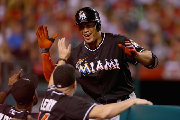 Miami Marlins' Giancarlo Stanton Becomes 12th Player with 150 Homers at Age 24