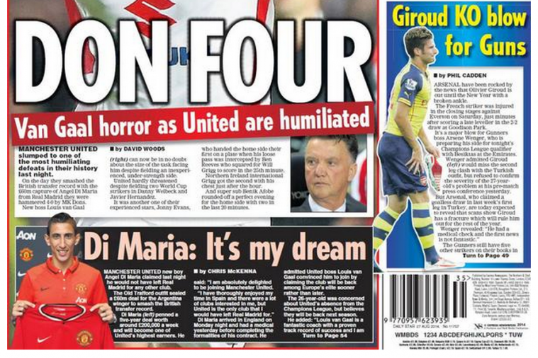 UK Back Pages: Manchester United Land Di Maria, Are Embarrassed in League Cup