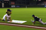 Mascot Tries to Play Twister with Coco Crisp