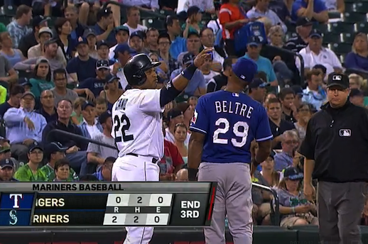 Robinson Cano Repeatedly Attempts to Touch Adrian Beltre's Head