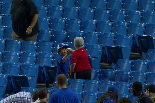Young Red Sox Fan Generously Donates a Foul Ball to Another Young Fan