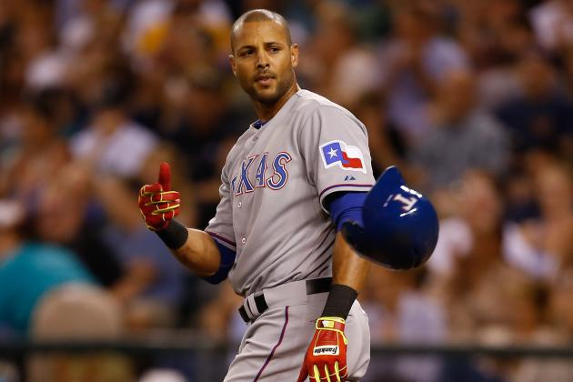 Alex Rios out of Texas Rangers Lineup Again with Thumb Contusion