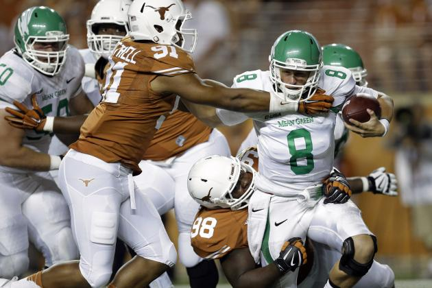 Texas' Stout Defense in Week 1 Perfect Start for Charlie Strong Era