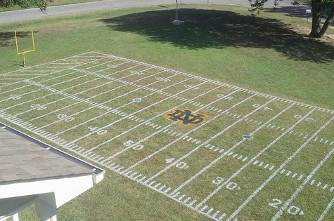 Photos: Fighting Irish Fans Turn Front Lawn into Mini-Notre Dame Stadium Field