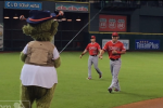 Watch: Astros' Mascot Goes Fishing for Mike Trout