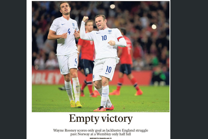 UK Pages: England Battered for Uninspired Performance Against Norway