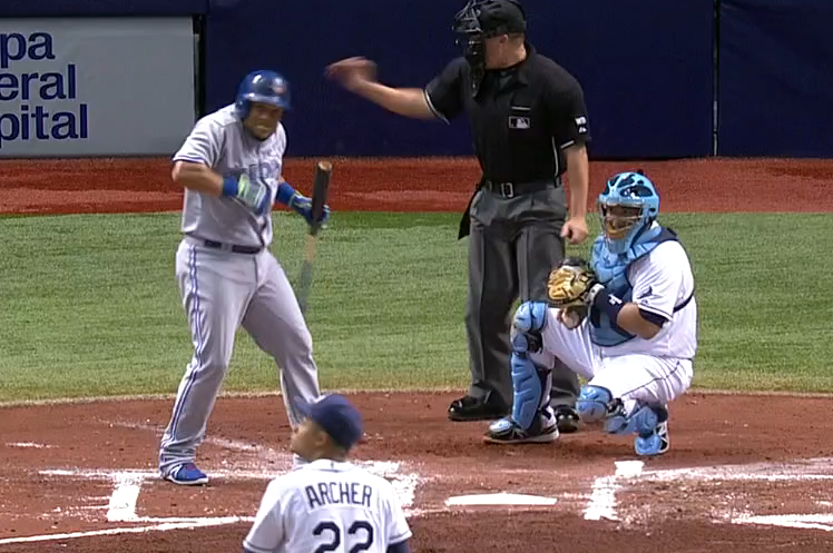Melky Cabrera Gets Scared by Thunder While at the Plate vs. the Tampa Bay Rays