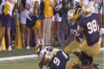 Michigan TE Absolutely Levels Notre Dame DL