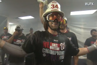 Bryce Harper Celebrates in Custom Firemans Helmet…