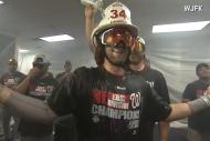 Bryce Harper Celebrates in Custom Firemans Helmet…