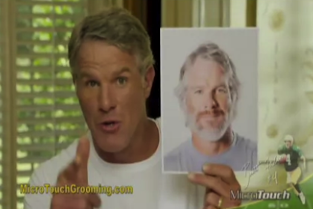 brett favre 39 gets his groom back 39 in male grooming product commercial. Black Bedroom Furniture Sets. Home Design Ideas