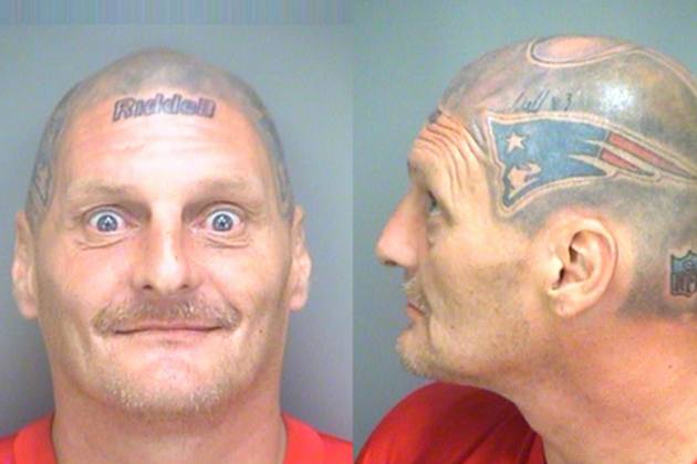 Man with Tom Brady's Helmet Tattooed onto Head Arrested in Florida