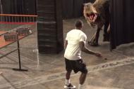 Suns' Eric Bledsoe Gets Terrified by Lifelike Dino…